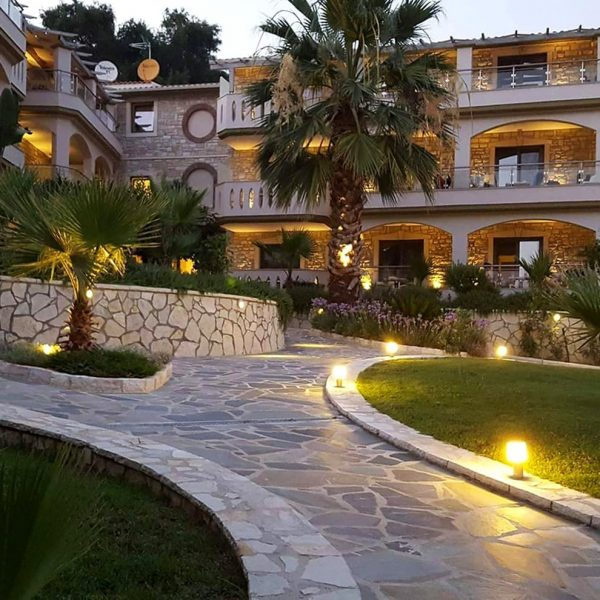 Path leading to Adams Hotel in Parga, a 4 star with modern amenities hotel.