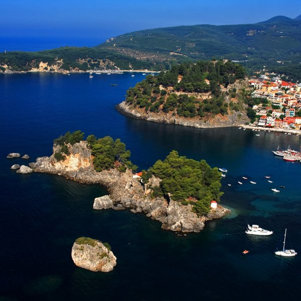 Panoramic view of the town, the port, the nature and the sea of Parga.
