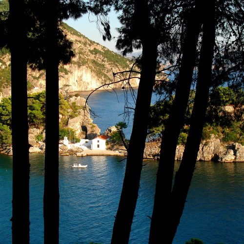 A chapel built on a rock in the sea at Parga with outstanding nature.