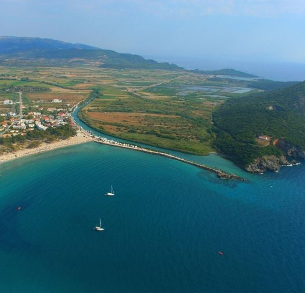Panoramic view of Loutsa, one of Preveza's finest beaches with clear blue water.